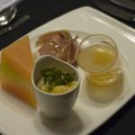 Ham Broth & Melon Caviar