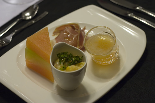 Ham Broth with Melon Caviar
