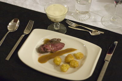 Filet Mignon with Fried Bernaise Spheres and Potato Foam